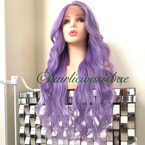 "Lilac light purple wig lavender wavy layered 26"""